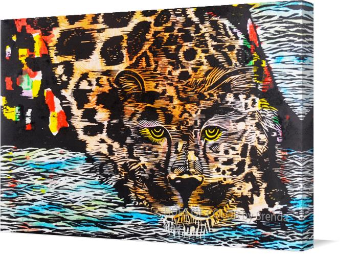 Water-Prowl-Blue--Woodblock-over-Cognate-Print on Canvas by HUES OF COLOR by Brenda Kay