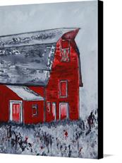 Canvas print of Lost Era - Barn by the artist artbasik Michael Rados