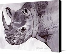 Canvas print of Rhino by the artist artbasik Michael Rados