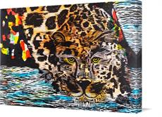 "Canvas print of ""Water Prowl"" Blue, Woodblock over Cognate Print. by the artist HUES OF COLOR by Brenda Kay"